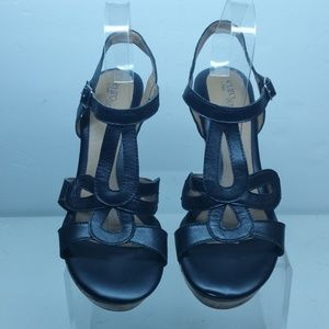 Euro Soft by Sofft Black Leather Wedges Size10